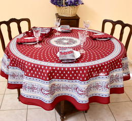 Marat Avignon Bastide Burgundy French Tablecloth Round 180cm COATED Made in France