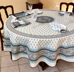 Marat Avignon Bastide Turquoise French Tablecloth Round 180cm COATED Made in France