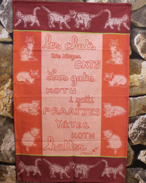 Les Chats Red French Tea Towel Made in France