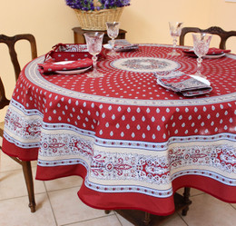 Marat Avignon Bastide Burgundy French Tablecloth Round 180cm Made in France