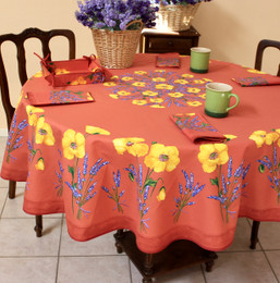 Poppy Rust French Tablecloth ROUND 180cm Made in France