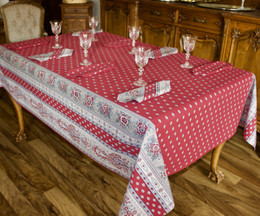 Marat Avignon Bastide Red French Tablecloth 155x300cm 10Seats COATED Made in France