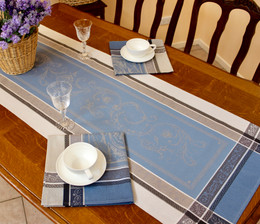 Versaille Blue 51x166cm French Jacquard Table Runner Made in France