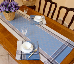 Vaucluse Blue 52x165cm French Jacquard Tapestry Style Runner Made in France
