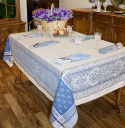 Vaucluse Blue Jacquard French Tablecloth 160x250cm 8seats Made in France