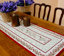Auriol Red 48x172cm French Thick Jacquard Tapestry Style Runner Made in France