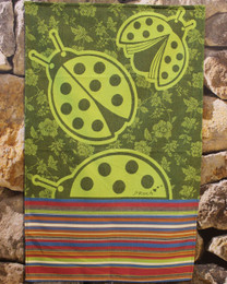 Coccinelle Green French Tea Towel Made in France