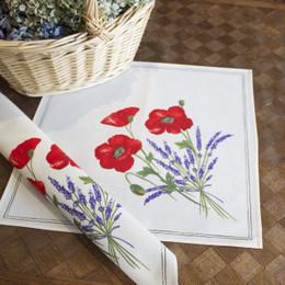 Poppy Ecru Serviette French Napkin Made in France