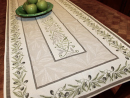 Auriol Green French Thick Jacquard Table Runner Made in France