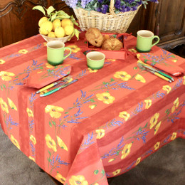 Poppy Rust Square Tablecloth 150x150cm COATED Made in France