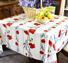 Poppy Ecru Square Tablecloth 150x150cm COATED Made in France