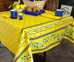 Ramatuelle Yellow/Blue Square Tablecloth 150x150cm COATED Made in France