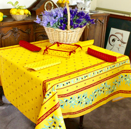 Ramatuelle Yellow/Red Square Tablecloth 150x150cm COATED Made in France