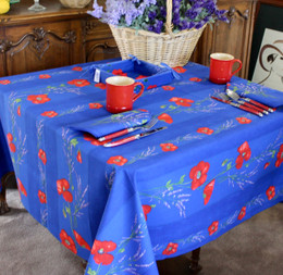 Poppy Blue Square Tablecloth 150x150cm COATED Made in France