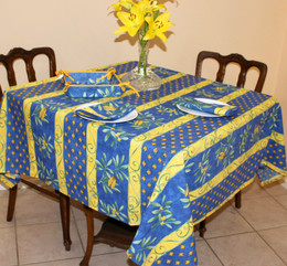 Cicada Square Tablecloth 150x150cm COATED Made in France