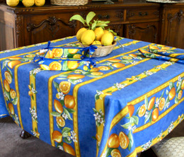 Lemon Blue Square Tablecloth 150x150cm COATED Made in France