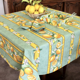 Lemon Green Square Tablecloth 150x150cm COATED Made in France