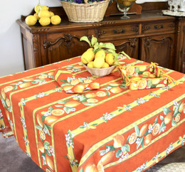 Lemon Orange Square Tablecloth 150x150cm COATED Made in France