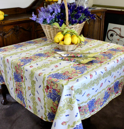 Lavender & Roses Square Tablecloth 150x150cm COATED Made in France