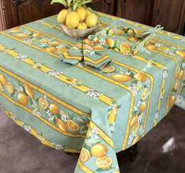 Lemon Green Square Tablecloth 150x150cm Made in France