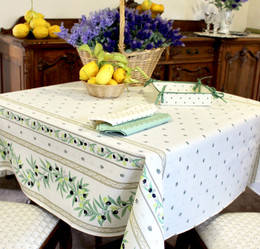 Ramatuelle Ecru Square Tablecloth 150x150cm Made in France