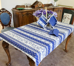 Marat Avignon Blue155x120cm Small Tablecloth COATED Made in France