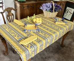 Marat Avignon Yellow155x120cm Small Tablecloth COATED Made in France