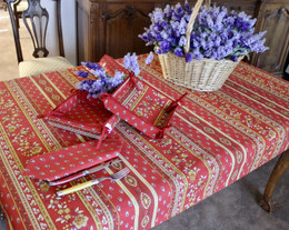 Marat Avignon Red155x120cm Small Tablecloth COATED Made in France