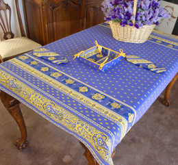 Marat Avignon Bastide Blue155x120cm Small Tablecloth COATED Made in France