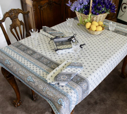 Marat Avignon Bastide Turquoise155x120cm Small Tablecloth COATED Made in France