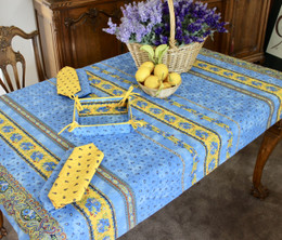 Marat Avignon Tradition Blue155x120cm Small Tablecloth COATED Made in France