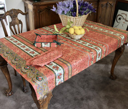 Marat Avignon Tradition Rust155x120cm Small Tablecloth COATED Made in France