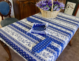Marat Avignon Blue155x120cm 4-6Seats Small Tablecloth Made in France