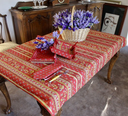 Marat Avignon Red155x120cm 4-6Seats Small Tablecloth Made in France