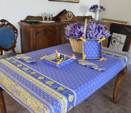 Marat Avignon Bastide Blue155x120cm 4-6Seats Small Tablecloth Made in France