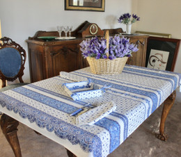 Marat Avignon Tradition White155x120cm 4-6Seats Small Tablecloth Made in France