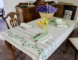 Ramatuelle Ecru 155x120cm  4-6Seats Small Tablecloth Made in France