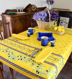 Ramatuelle Yellow/Blue 155x120cm  4-6Seats Small Tablecloth Made in France