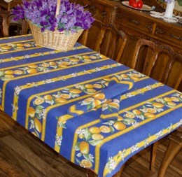 Lemon Blue 155x120cm  4-6Seats Small Tablecloth Made in France