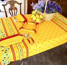 Ramatuelle Yellow/Red 155x120cm  4-6Seats Small Tablecloth COATED Made in France