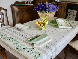 Ramatuelle Ecru 155x120cm  4-6Seats Small Tablecloth COATED Made in France