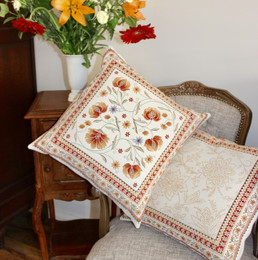 Sillans Rust-French Jacquard Cushion Cover Made in France