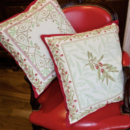 Auriol Red-French Jacquard Cushion Cover Made in France