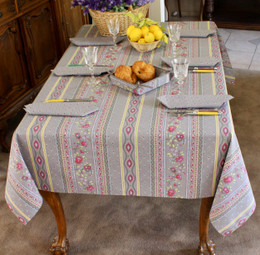 Marat Avignon Grey French Tablecloth 155x300cm 10Seats COATED Made in France