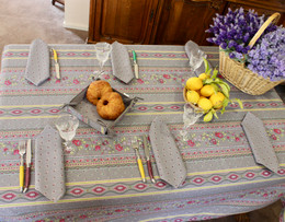Marat Avignon  Grey French Tablecloth 155x250cm 8Seats COATED Made in France