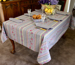 Marat Avignon Grey French Tablecloth 155x200cm 6 Seats COATED Made in France