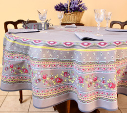 Marat Avignon Grey French Tablecloth Round 180cm Made in France