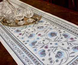 Sillans Blue 49x160cm French Thick Jacquard Tapestry Style Runner Made in France