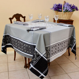 Marius Black 160x160cm SquareJacquard French Tablecloth Made in France