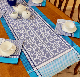 Marius Blue 50x166cm French Jacquard Table Runner Made in France